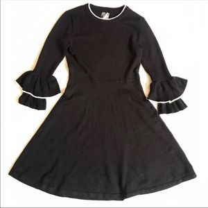 Vince Camuto Bell Sleeve Black Sweater Dress